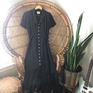 Vintage Button Down Polka Dot Maxi Dress